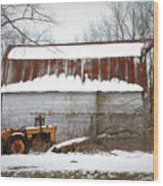 Barn And Tractor Wood Print