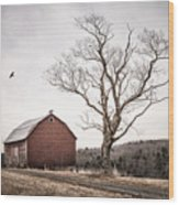 barn and tree - New York State Wood Print