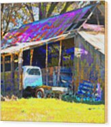 Barn And Truck Wood Print