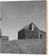 Barn And Windmill II Wood Print