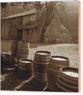 Barn And Wine Barrels 2 Wood Print by Kathy Yates