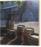 Barn And Wine Barrels Wood Print by Kathy Yates