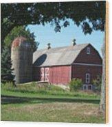 Barn At Leroy Oaks Wood Print