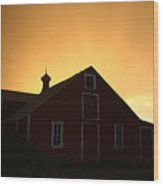 Barn At Sunset Wood Print