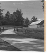 Barn At Yonah Mountain In Black And White 1 Wood Print
