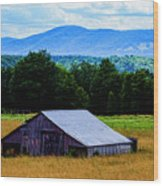 Barn Below Trees And Mountains Wood Print