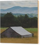 Barn Below Trees And Mountains In Artistic Version Wood Print