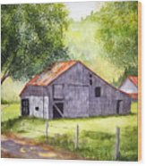 Barn By The Road Wood Print