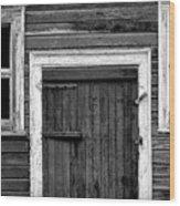 Barn Door And Windows Bw Wood Print