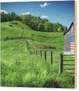 Barn Flag Wood Print