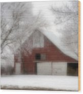 Barn Fog And Hoarfrost Wood Print