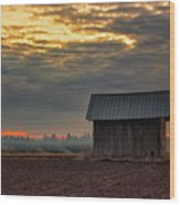 Barn House On The Burning Field Wood Print