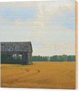 Barn In A Field  Wood Print