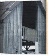 Barn In Blue Wood Print