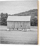 Barn In Meadow Wood Print