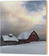 Barn In Solitude Wood Print
