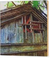Barn In Summer Colors Wood Print