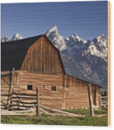 Barn In The Mountains Wood Print