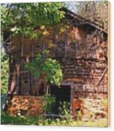 Barn In The Shade Wood Print