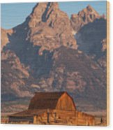 Barn In The Tetons One Wood Print