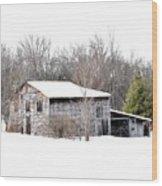 Barn In The Woods Wood Print