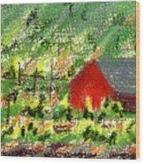 Barn In Vineyard Wood Print