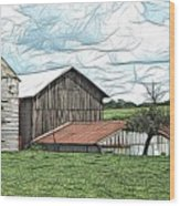 Barn Landscape Colored Pencil Chicken Scratch Effect Wood Print