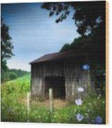 Barn N Flowers Wood Print