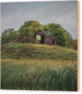 Barn On Hill Wood Print