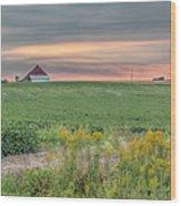 Barn On The Horizon  Wood Print
