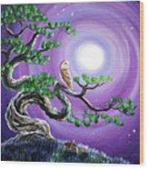 Barn Owl In Twisted Pine Tree Wood Print