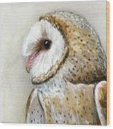 Barn Owl Watercolor Wood Print