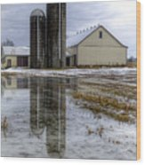 Barn Reflection After A Snowstorm Wood Print