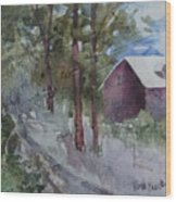 Barn Road Wood Print