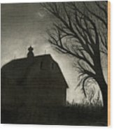 Barn Sillouette Wood Print by Bryan Baumeister