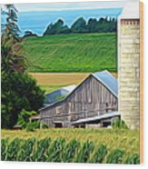 Barn Silo And Crops In Nys Expressionistic Effect Wood Print