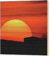 Barn Sunset Wood Print