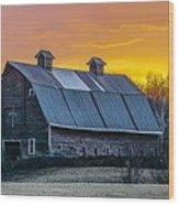 Barn Sunset Wood Print