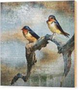Barn Swallows Oil Wood Print