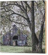 Barn Underneath The Tree Wood Print