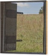 Barn Window View Wood Print