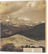 Barn With A Rocky Mountain View In Sepia Wood Print