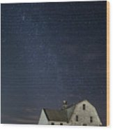 Barn With Milky Way Wood Print
