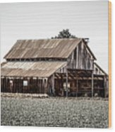 Barn With Outhouse Wood Print