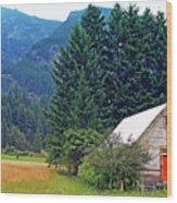 Barn With Red Door Wood Print