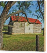 Barn With Red Metal Roof Wood Print