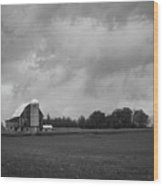 Barn With Storm Clouds Wood Print