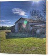 Barn With Sun Flare Wood Print
