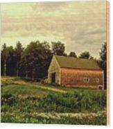 Barn With Wildflowers Wood Print