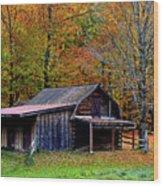 Barn Woodford Mountain Wood Print